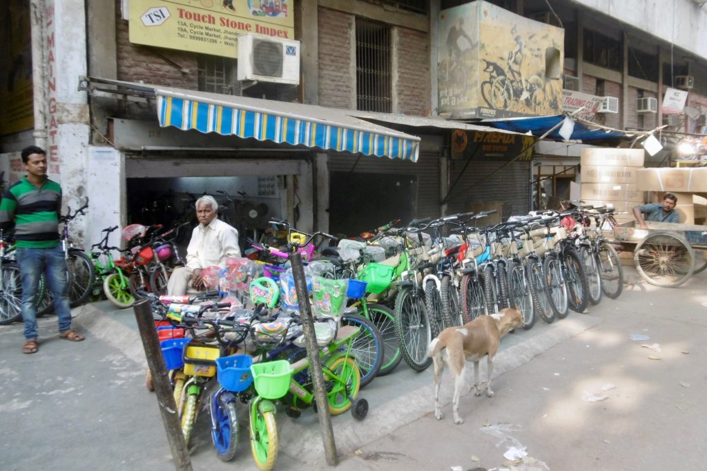 Bicycle store in Delhi.