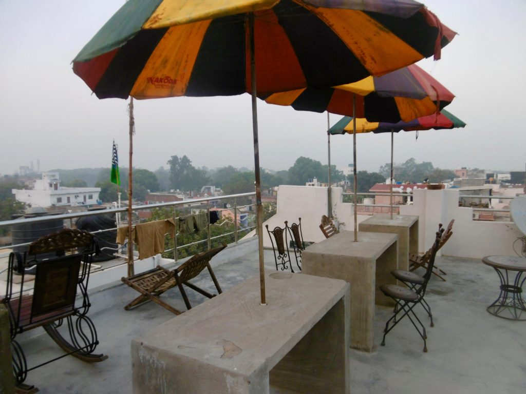 The rooftop terrace at Backpacker Panda Friends.