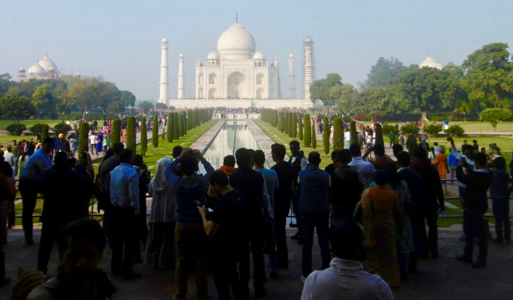You are not alone at the Taj Mahal.