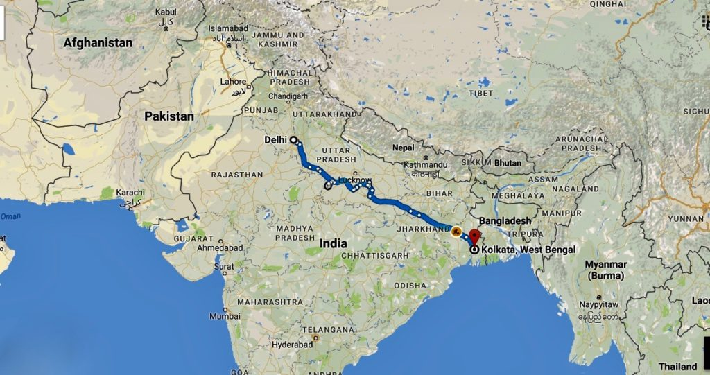 My route from Delhi to Kolkata.