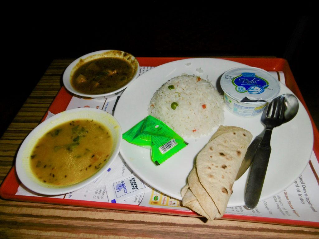 Nice food on the Rajdhani Express from Kolkata to Delhi.