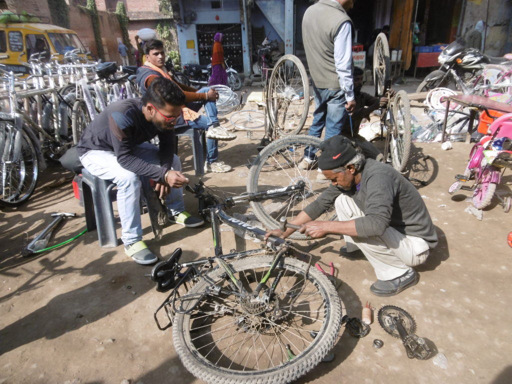 Getting my bike fixed in Fatehpur