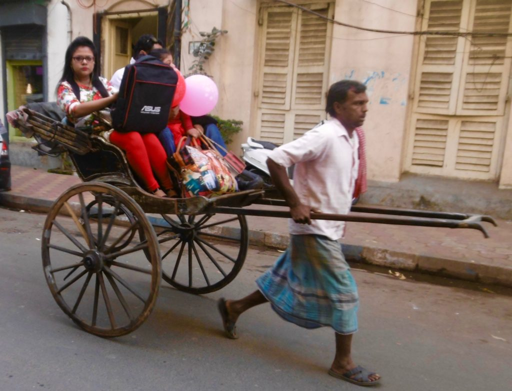 Hand pulled rickshaw in Kolkata.