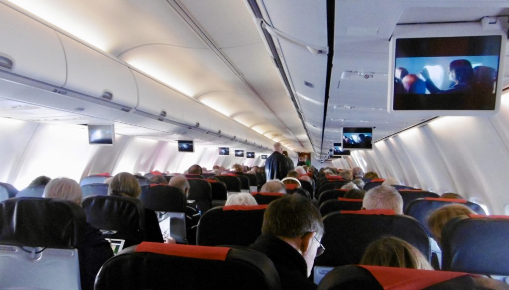 Onboard a Norwegian flight.