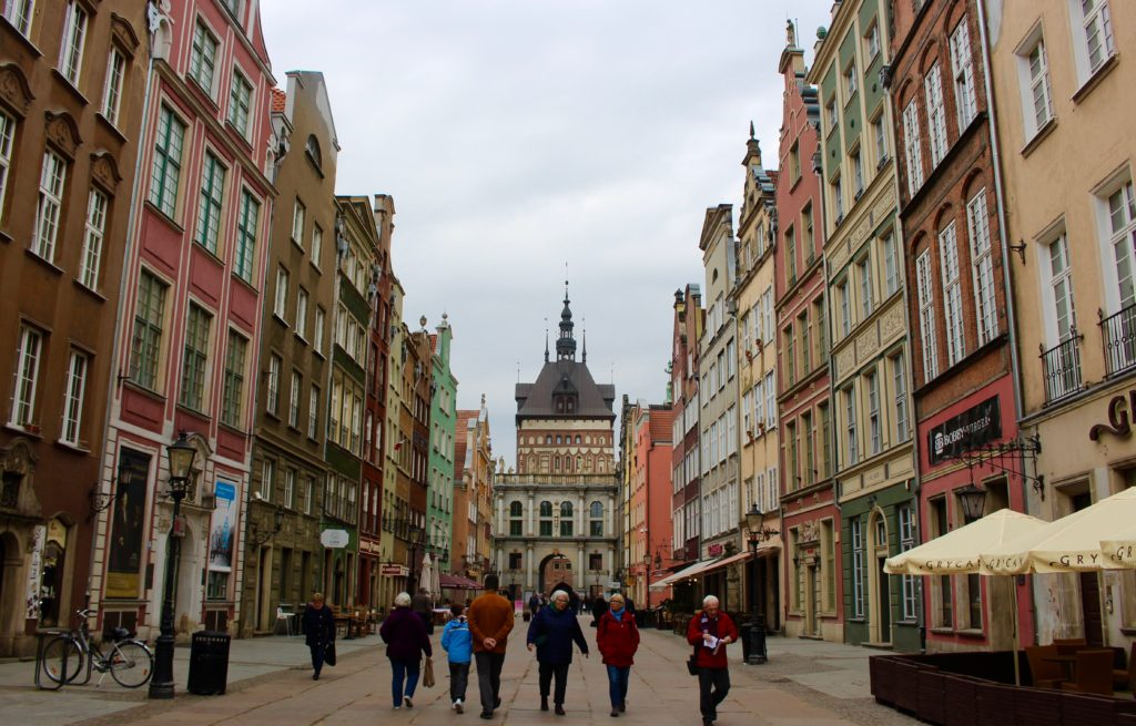 The main pedestrian street in Gdansk.