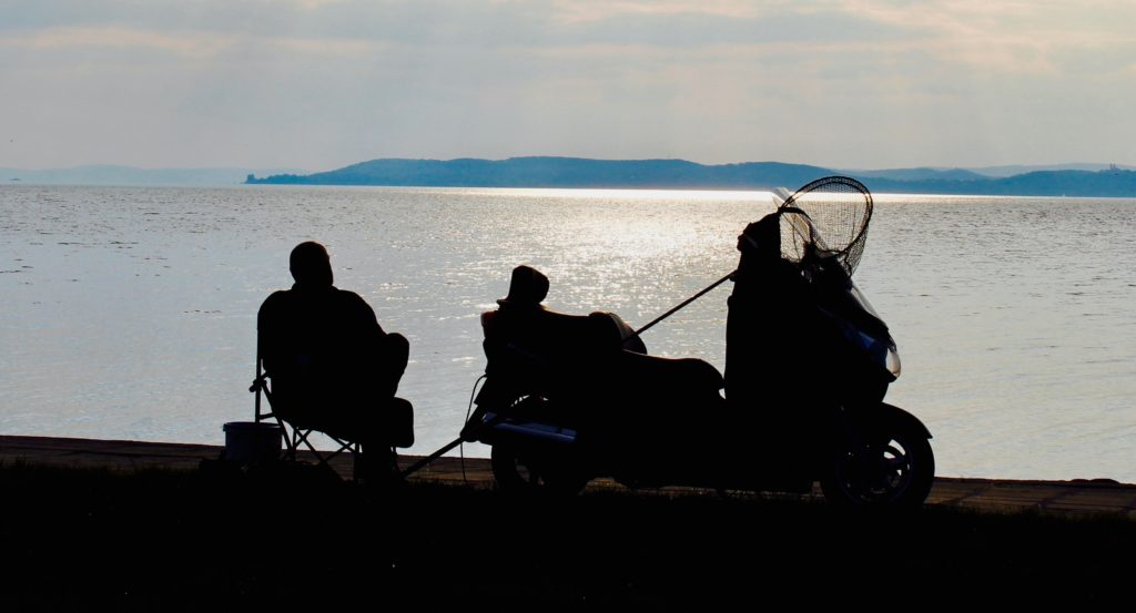 Chilling out at sunset at Lake Balaton.