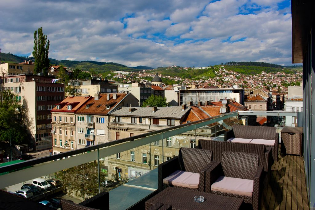 My breakfast view at the City Boutique Hotel in Sarajevo.