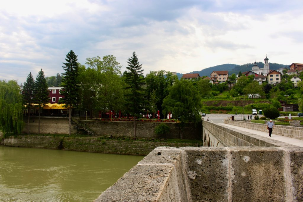 Standing on the bridge and looking in towards Visegrad.