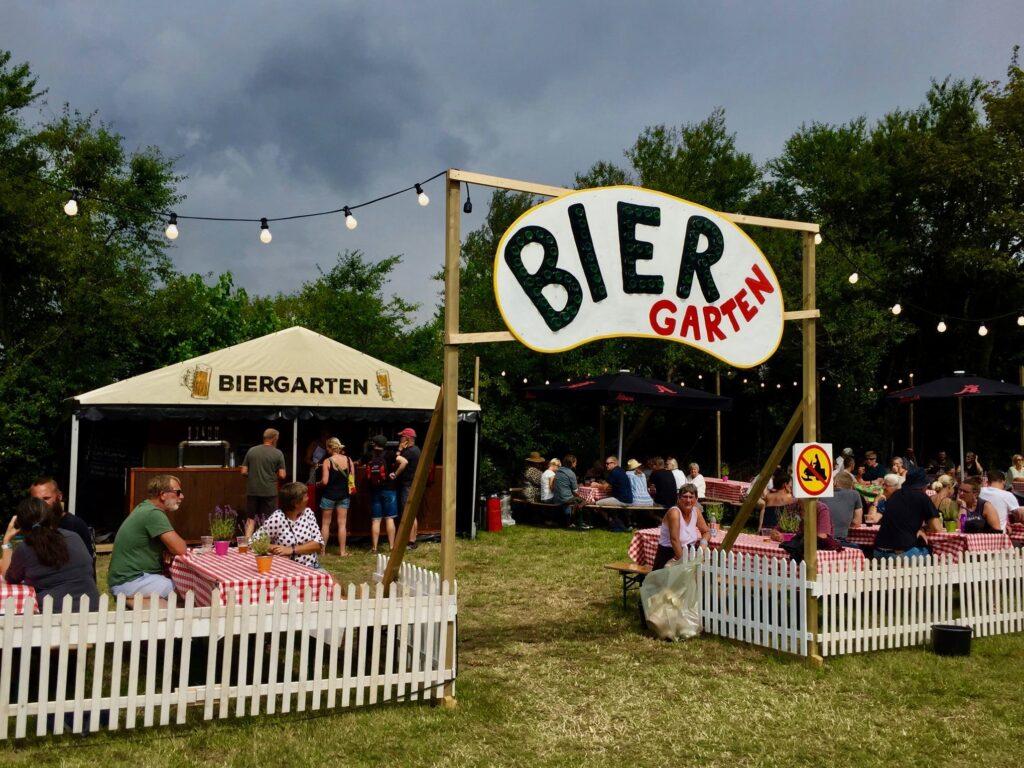 Biergarten at the annual music festival.