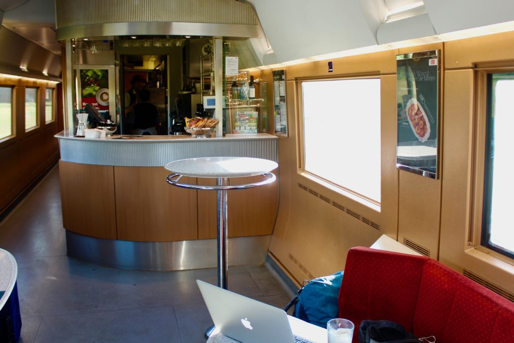 The Deutsche Bahn high speed trains have nice little cafes