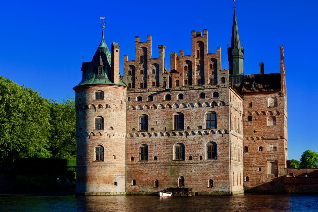 Egeskov Castle is situated in a lake.