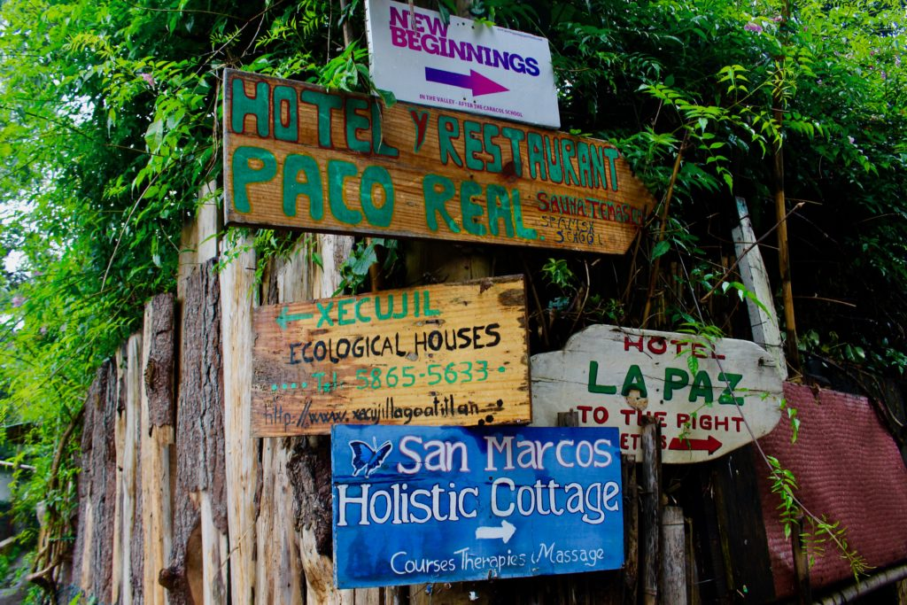 Street sign in San Marcos La Laguna.