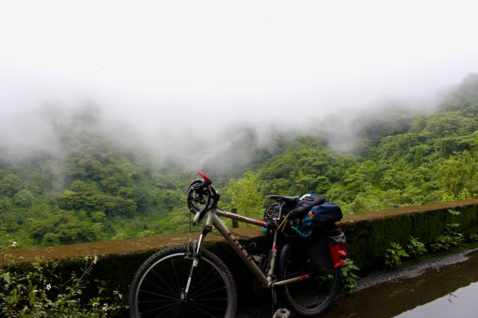 Cycling through the clouds.