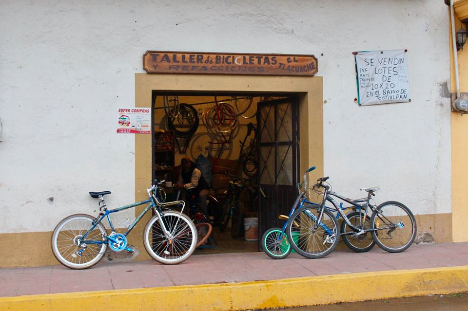 Bicycle repair shop in Mexico.