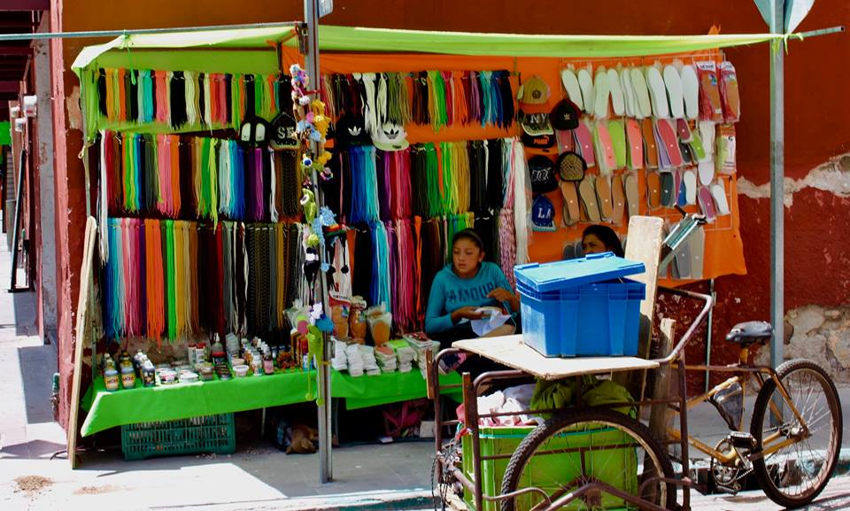 Shoestring seller in San Luis Potosi.