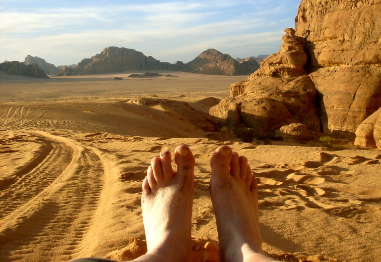 Chilling out in the Jordanian desert.