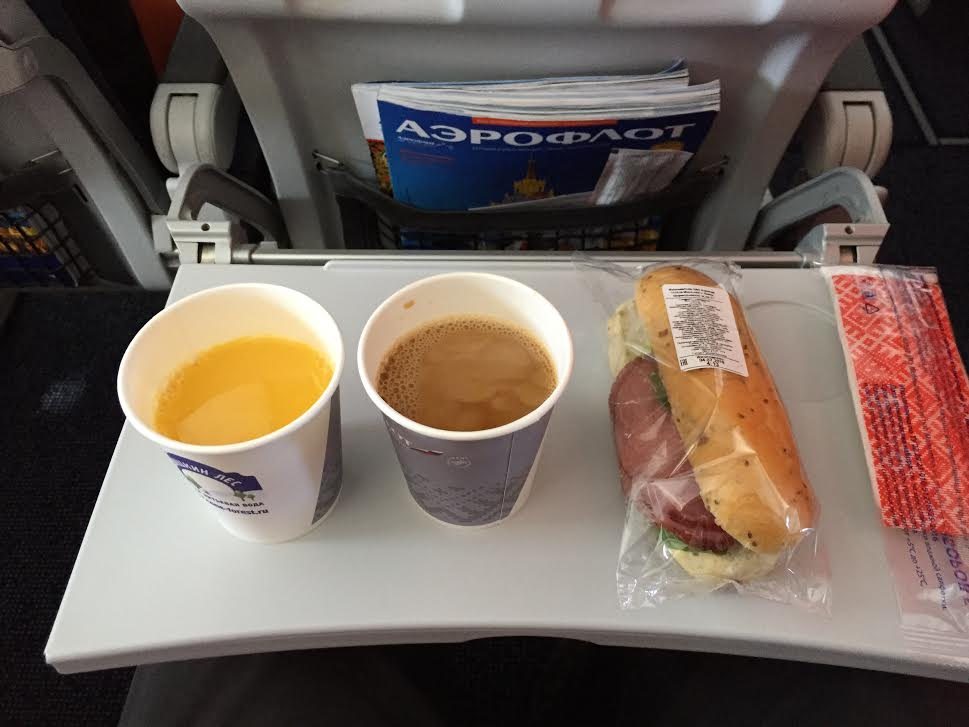 Food and drink on board Aeroflot was not impressive. But it was free.
