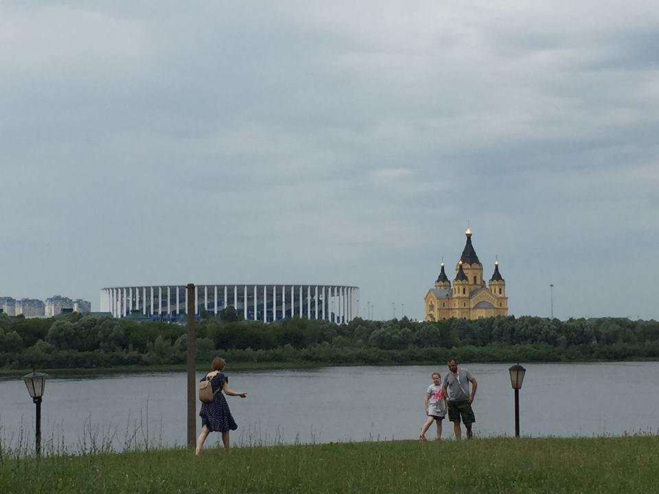 The World Cup stadium in Nizhny Novgorod.