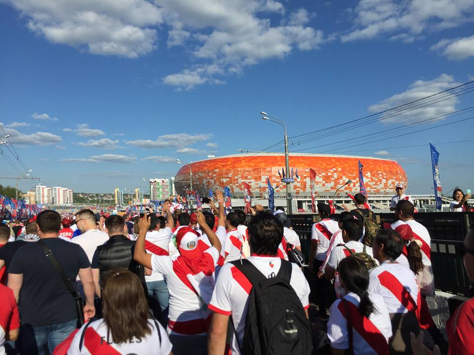 Peru fans walking towards the stadium in Saransk.