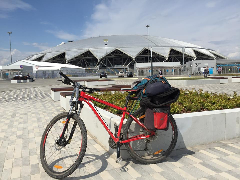 My bike outside the stadium in Samara.