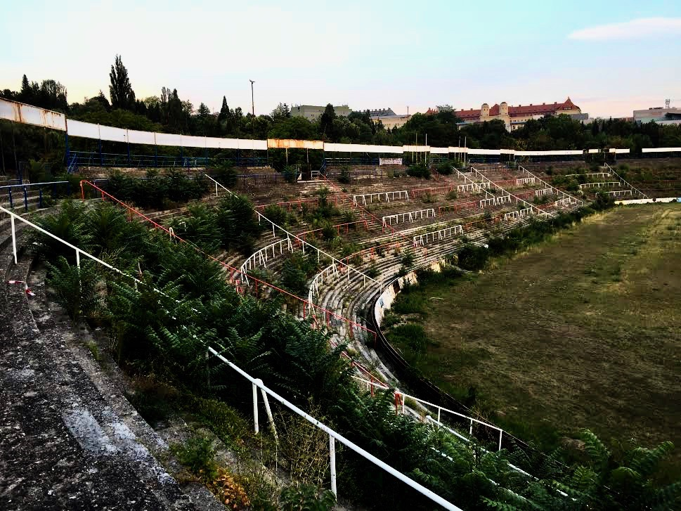 The abandoned football stadium in Brno.