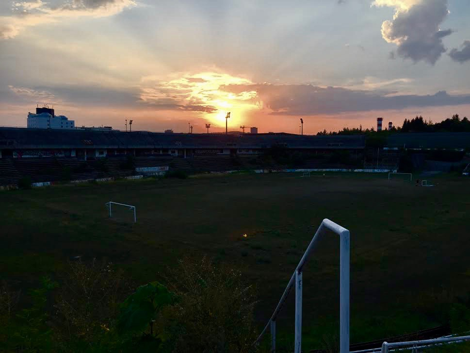 Sunset over the old stadium.