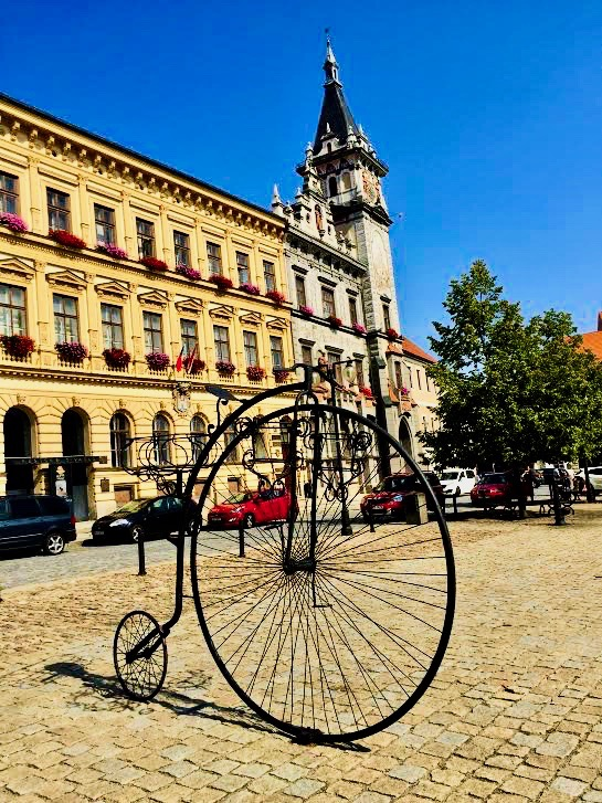 Bicycle statue in Prachatice.