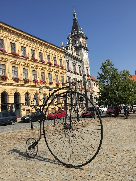 Bike statue in Prachatice.