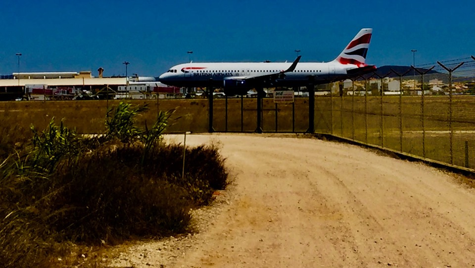 Bicycle path next to the runway at Faro Airport.