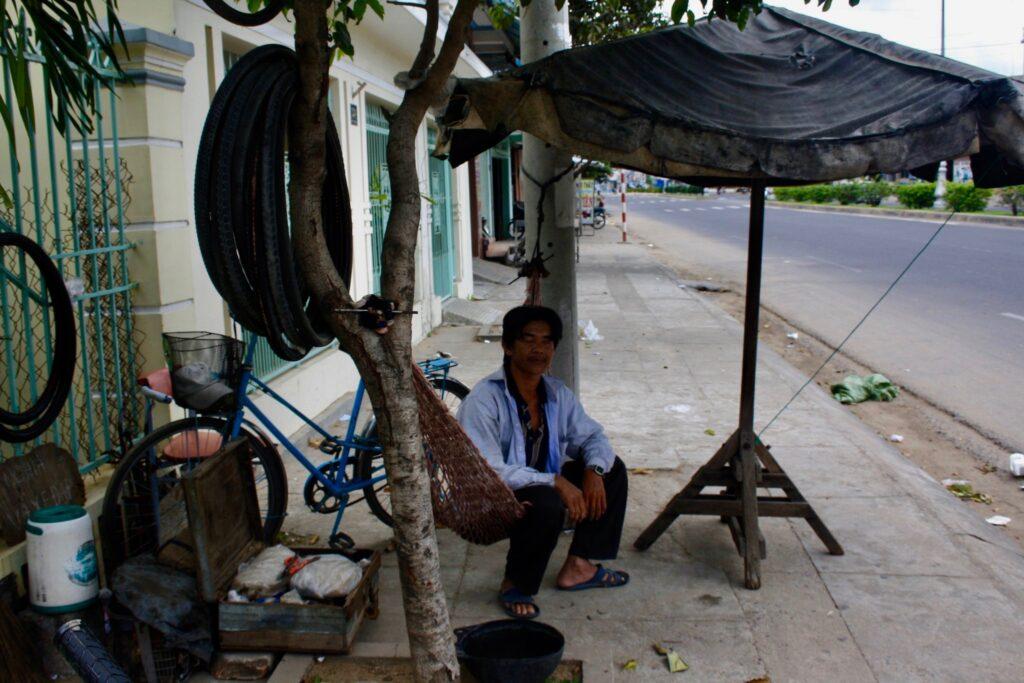 Bicycle repairman Vietnam.
